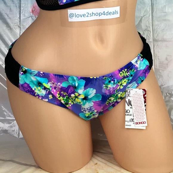 BONGO Other - 🆕Ⓜ️ Floral purple mesh insert bikini swim bottom